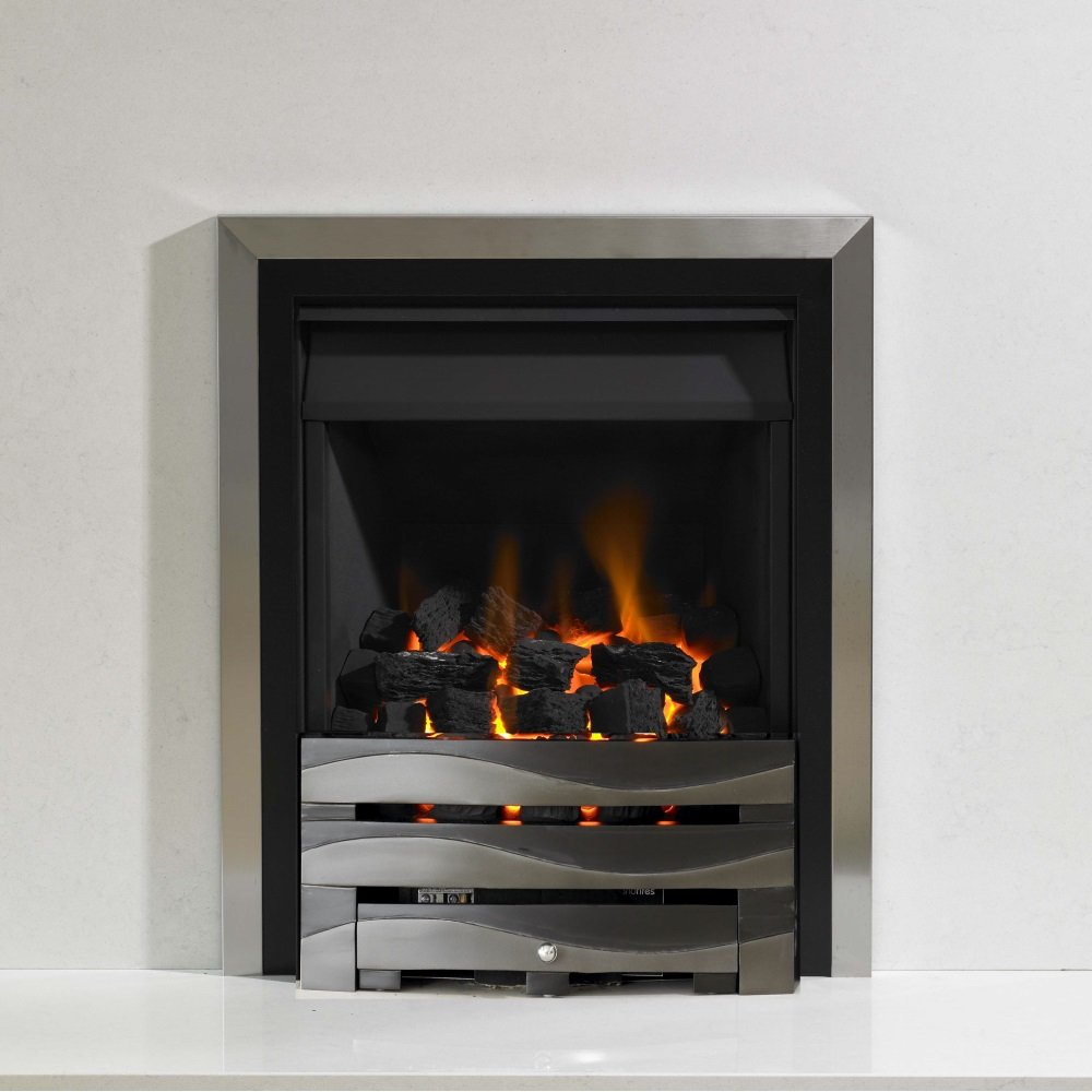 Kinetic Inset Open Fronted Manual Control Gas Fire Class 1 With Two Tone Front With Duo Outer Frame