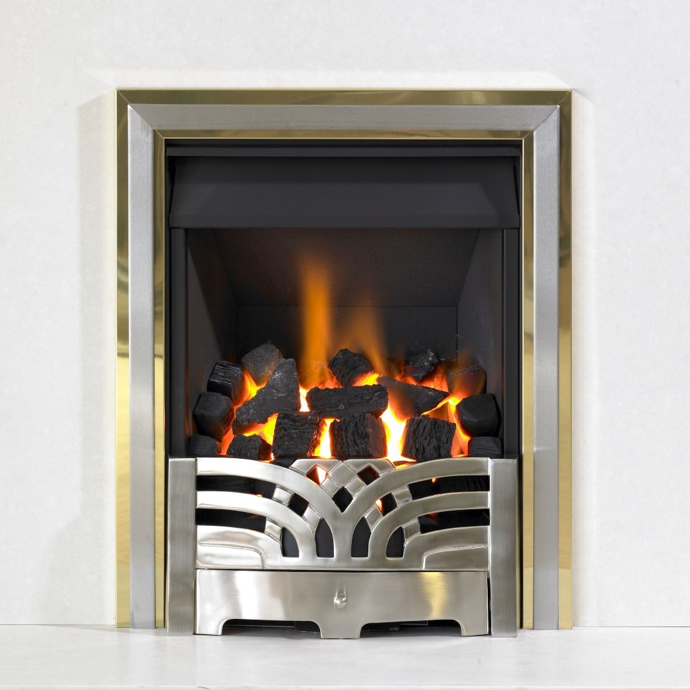 Kinetic Inset Open Fronted Slide Control Gas Fire Class 1 With Arc Front With Duo Inner Frame