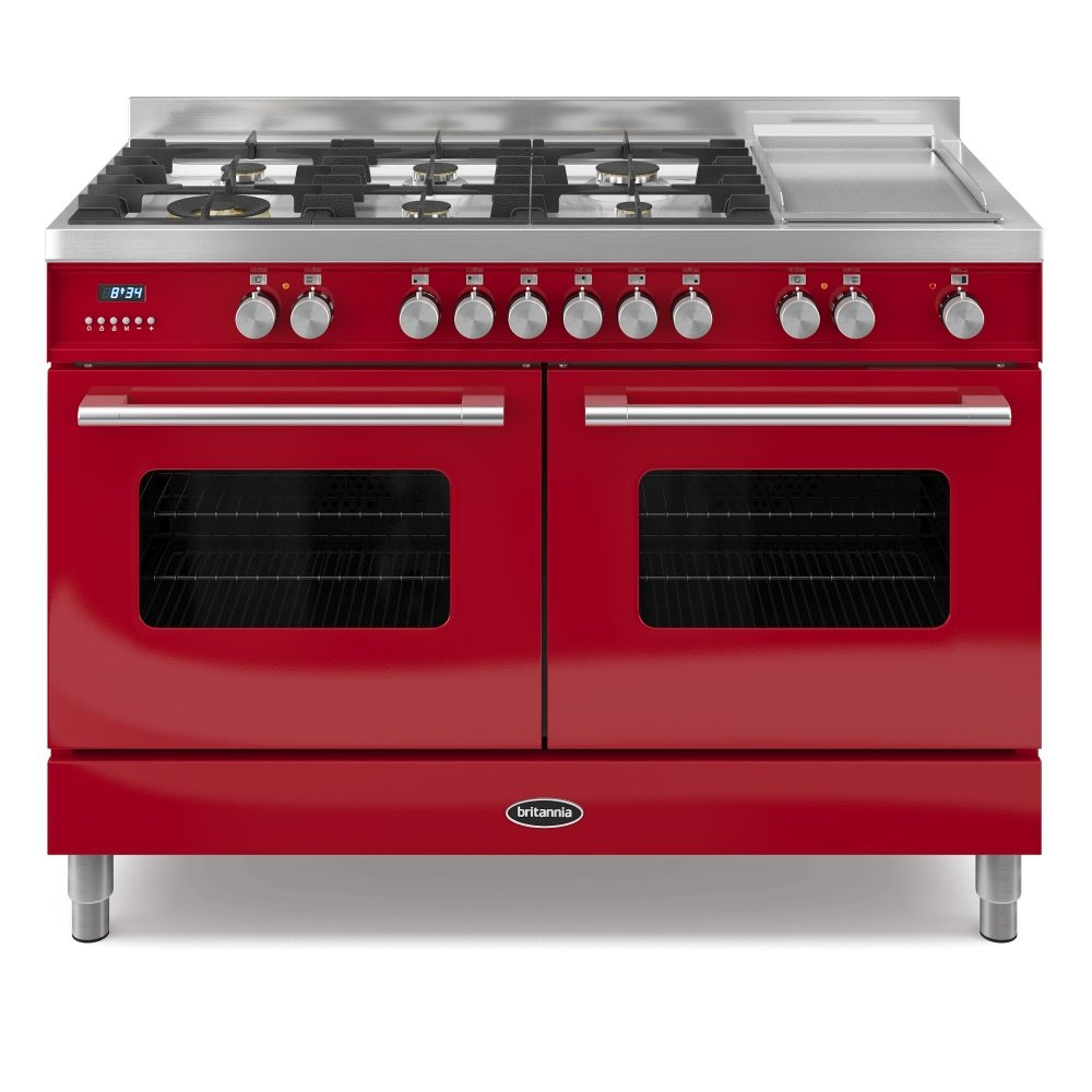 Range Couverts 120 Cm: Delphi Twin Oven 120cm Dual Fuel Range Cooker In Gloss Red