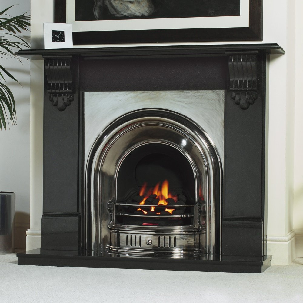 Cast tec anson cast insert for solid fuel with fireback in antique finish not shown cast tec - Firebacks for fireplaces ...