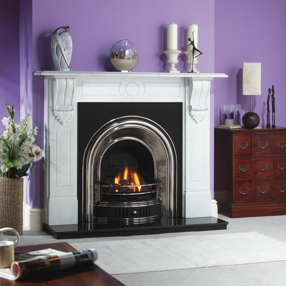 Cast tec anson cast insert for solid fuel with fireback in half polished cast tec from - Firebacks for fireplaces ...