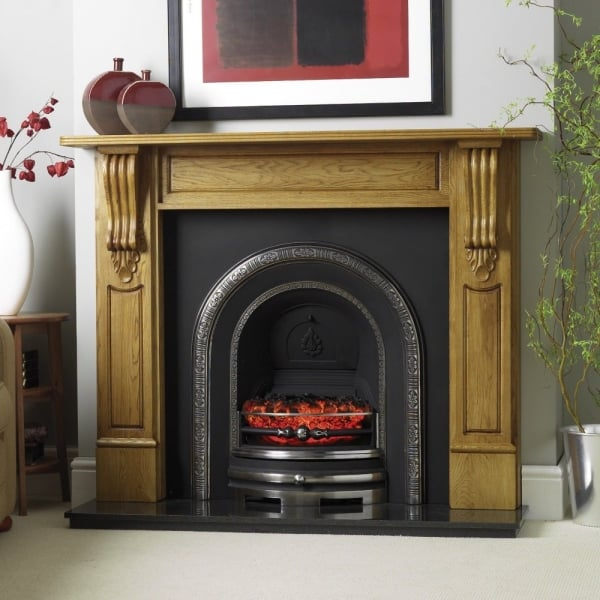 Cast tec ashbourne cast insert for solid fuel with - Firebacks for fireplaces ...