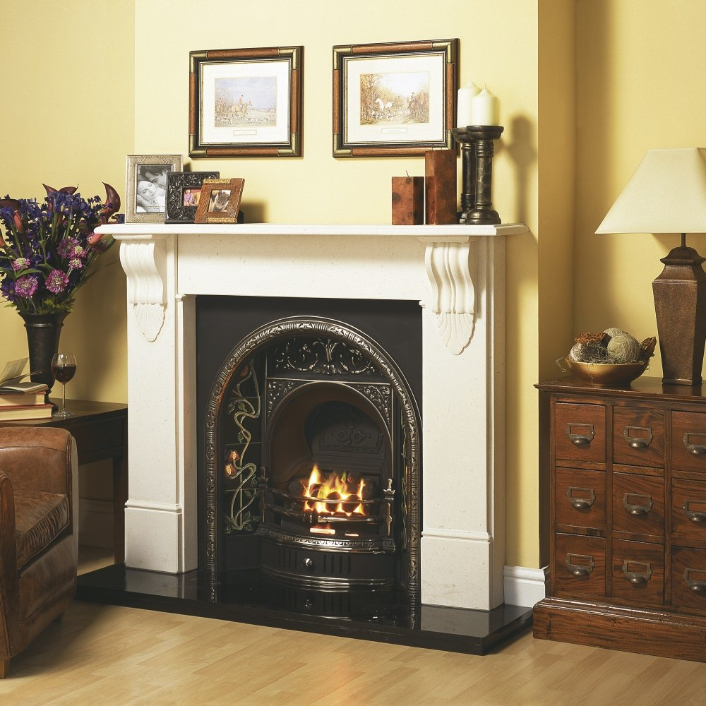 Cast tec belfast cast insert for solid fuel with fireback in highlighted polished cast tec - Firebacks for fireplaces ...