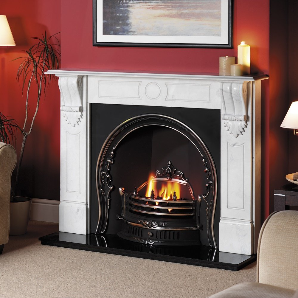 Cast tec camden cast insert for solid fuel with fireback in highlighted polished cast tec from - Firebacks for fireplaces ...