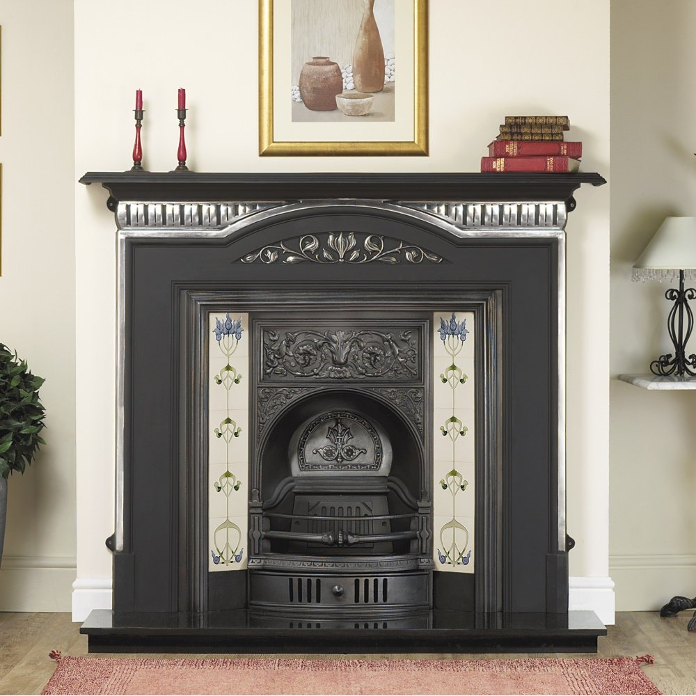 Cast tec dublin cast insert for solid fuel with fireback - Firebacks for fireplaces ...
