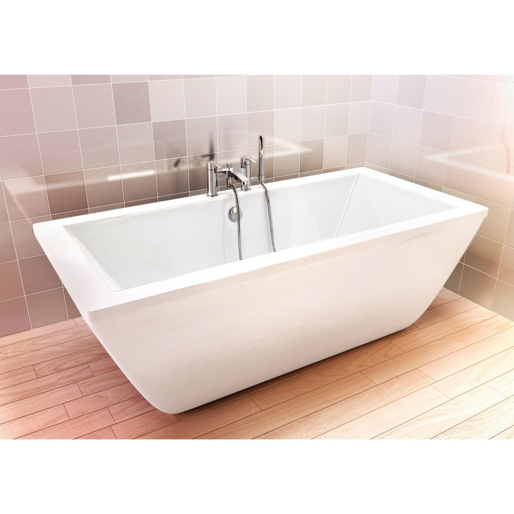 Freefortis 1800 x 800mm free standing reinforced bath white for Free standing