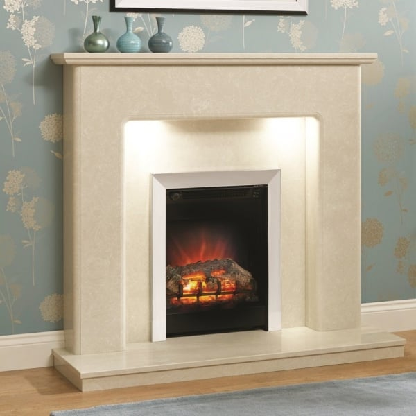 Darley 48 Inch Traditional Marble Fireplace With Lights In