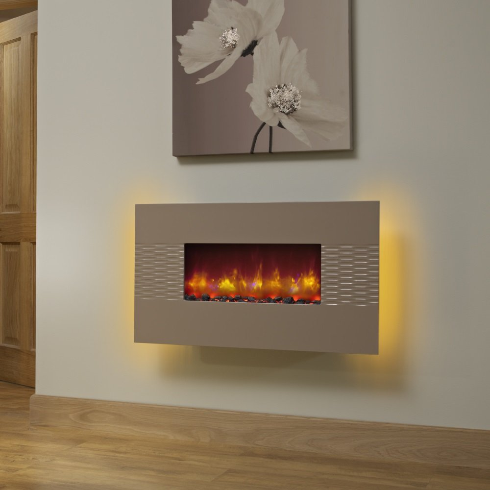 deluxe 36 inch wall mounted electric fire cappuccino