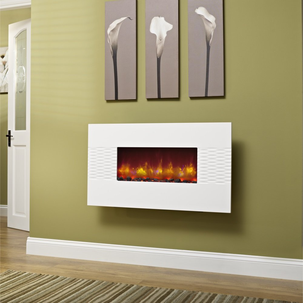 deluxe 36 inch wall mounted electric fire gloss white