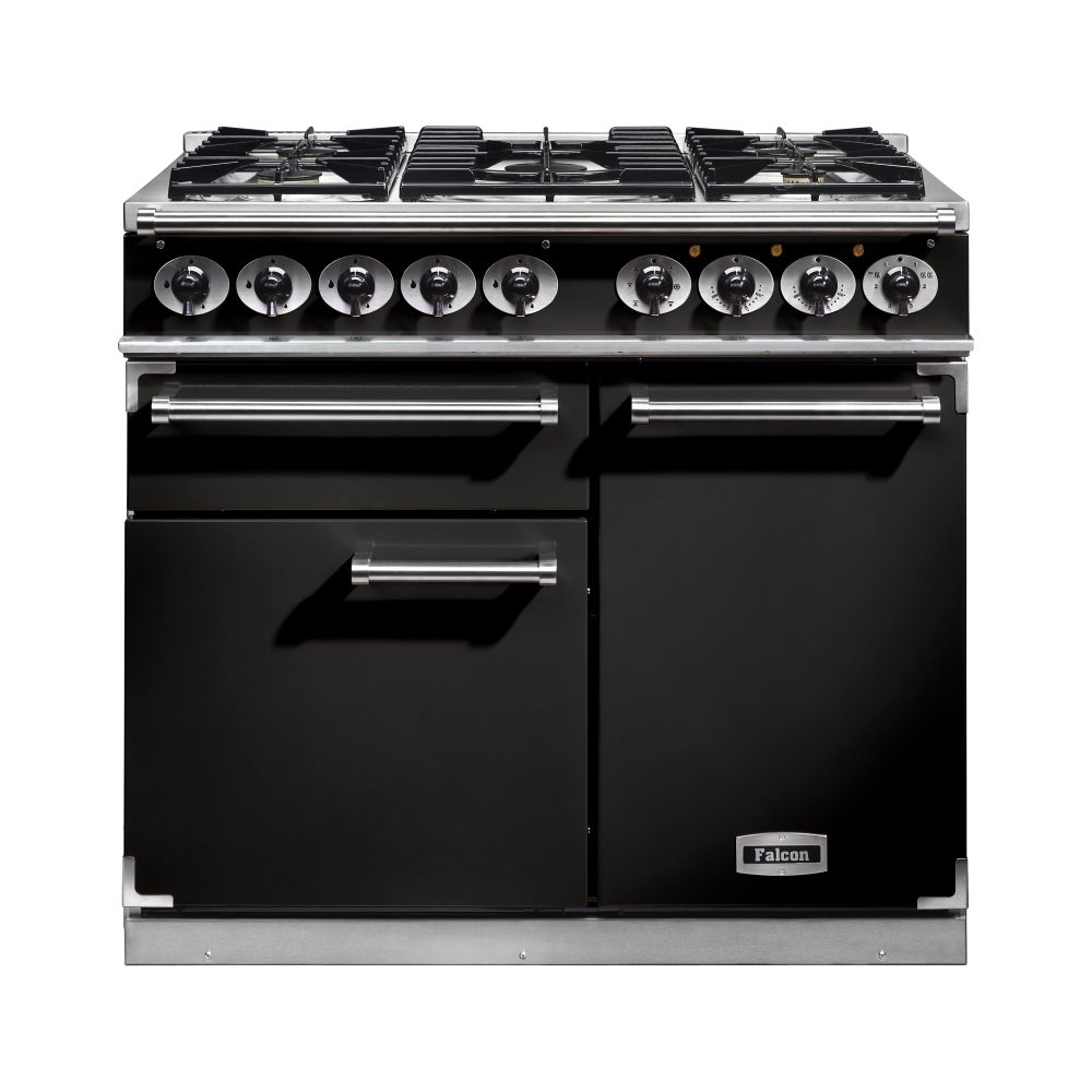 1000 deluxe dual fuel range cooker f1000dxdfbl cm black with chrome trim and matt supports. Black Bedroom Furniture Sets. Home Design Ideas