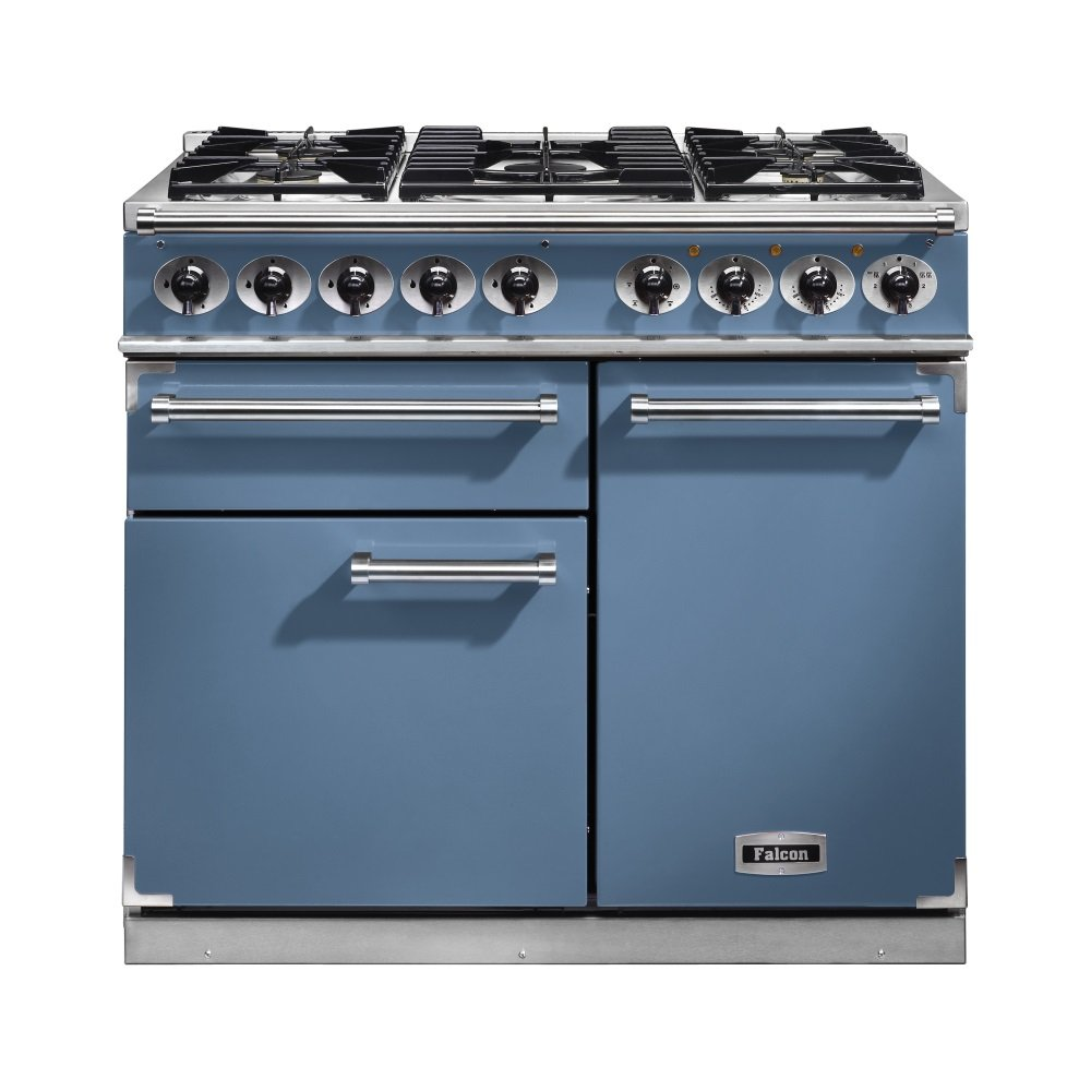 1000 deluxe dual fuel range cooker f1000dxdfca nm china blue with brushed nickel trim and matt. Black Bedroom Furniture Sets. Home Design Ideas