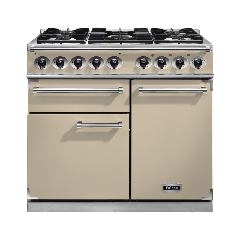 1000 deluxe dual fuel range cooker f1000dxdfcr cm cream with chrome trim and matt supports. Black Bedroom Furniture Sets. Home Design Ideas