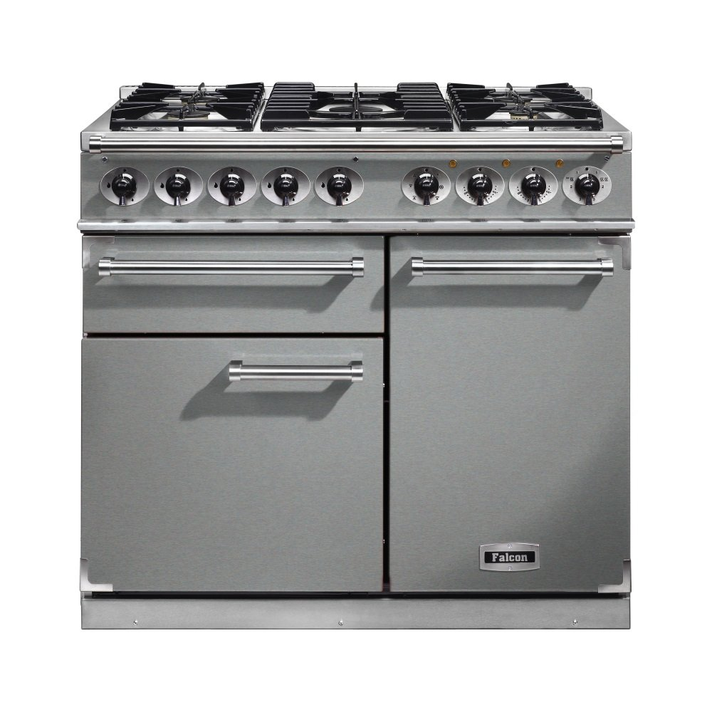 falcon range cookers 1000 deluxe dual fuel range cooker f1000dxdfss cg stainless steel with. Black Bedroom Furniture Sets. Home Design Ideas