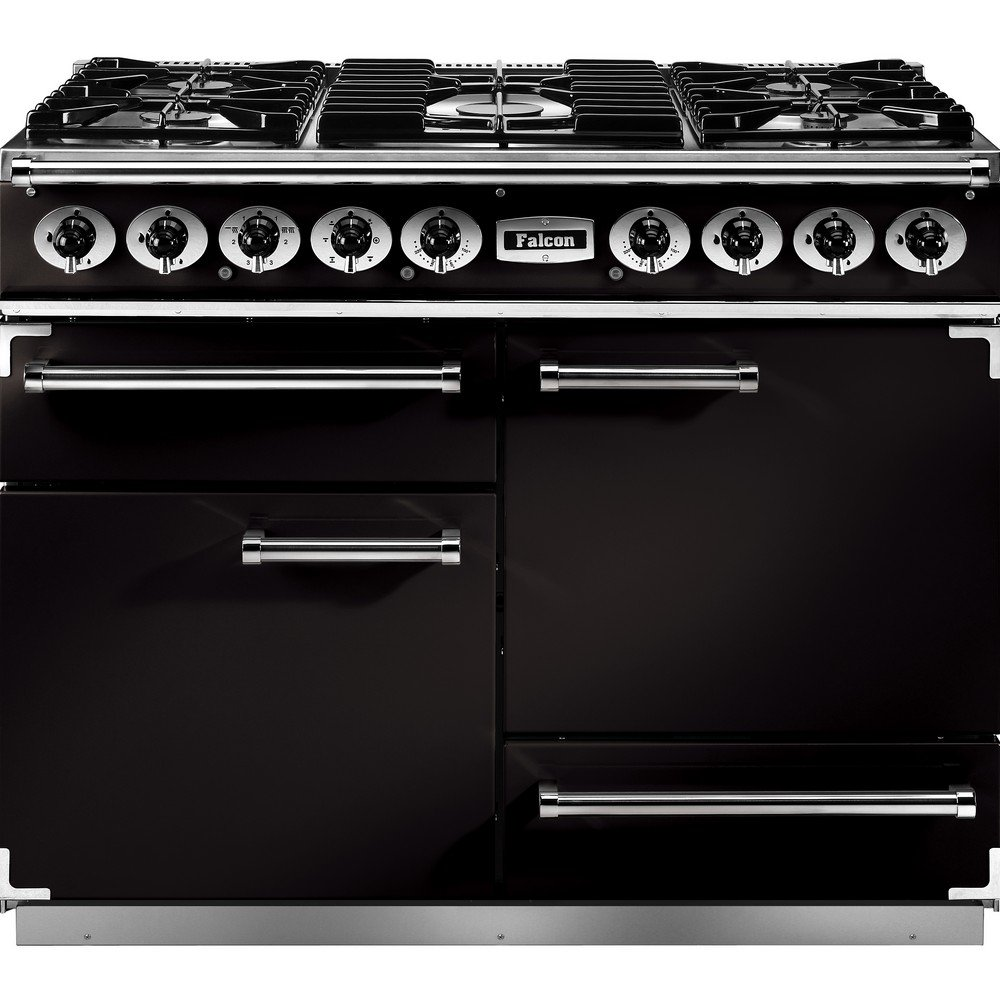1092 deluxe dual fuel range cooker f1092dxdfbl cg black with chrome trim and matt pan supports. Black Bedroom Furniture Sets. Home Design Ideas