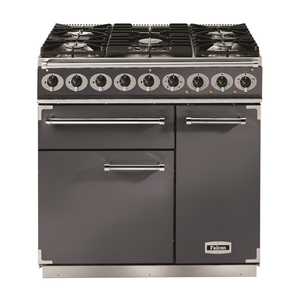 900 deluxe dual fuel range cooker f900dxdfsl nm slate with chrome trim with matt pan supports. Black Bedroom Furniture Sets. Home Design Ideas