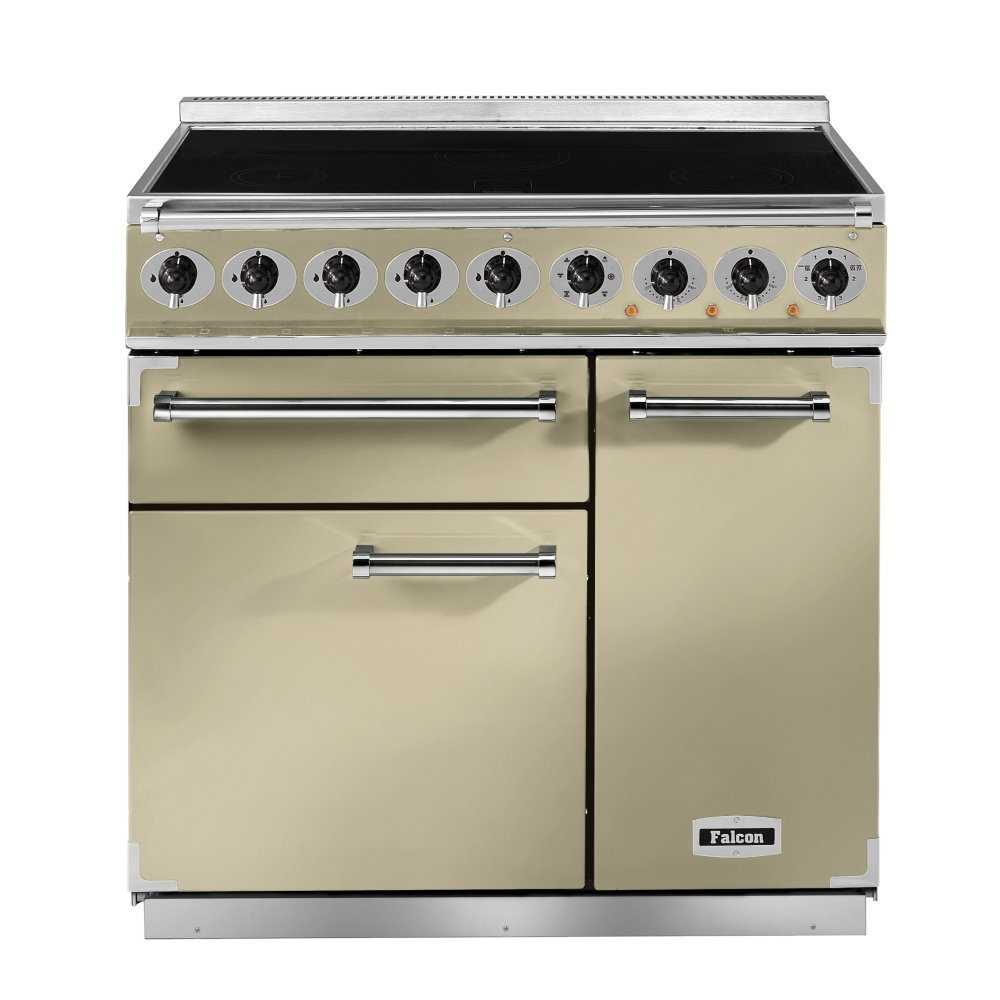 900 deluxe induction range cooker f900dxeicr b eu cream with brass trim. Black Bedroom Furniture Sets. Home Design Ideas