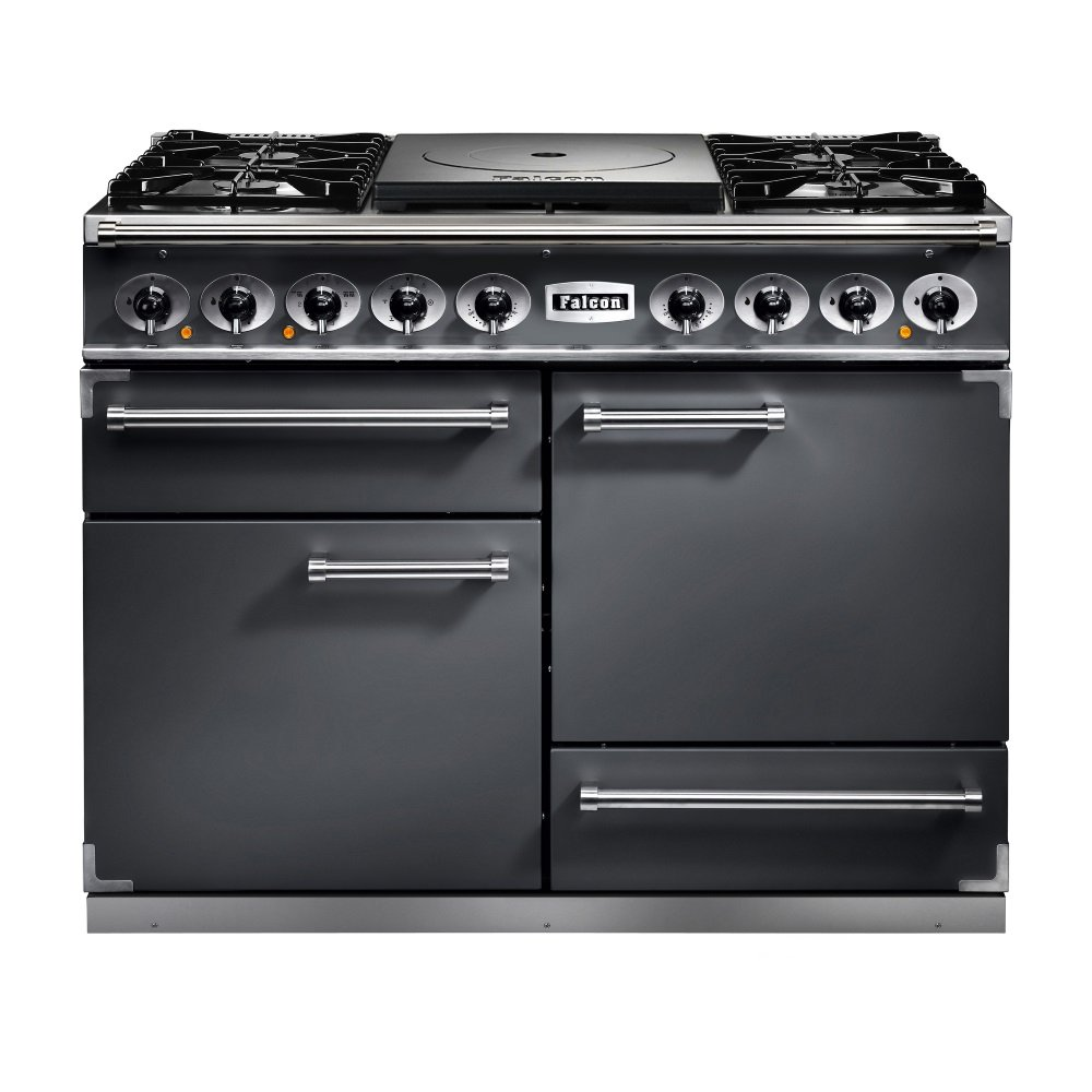 falcon range cookers 1092 deluxe ct dual fuel range cooker fct1092dfsl nm slate with brushed. Black Bedroom Furniture Sets. Home Design Ideas