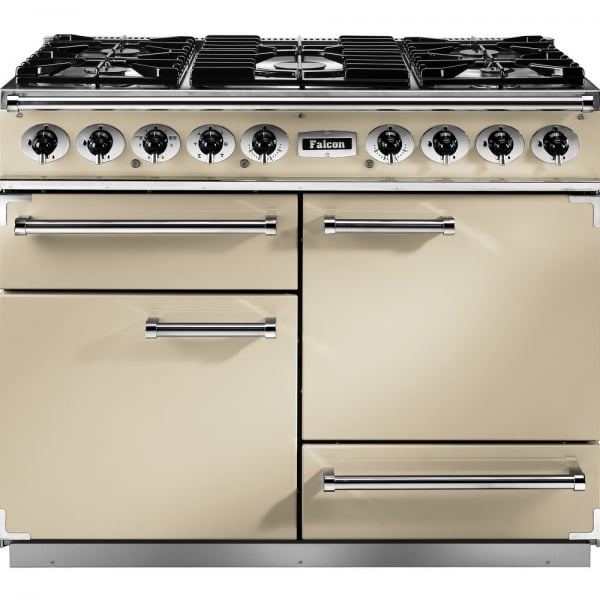 falcon range cookers 1092 deluxe dual fuel range cooker f1092dxdfcr cg cream with chrome trim. Black Bedroom Furniture Sets. Home Design Ideas