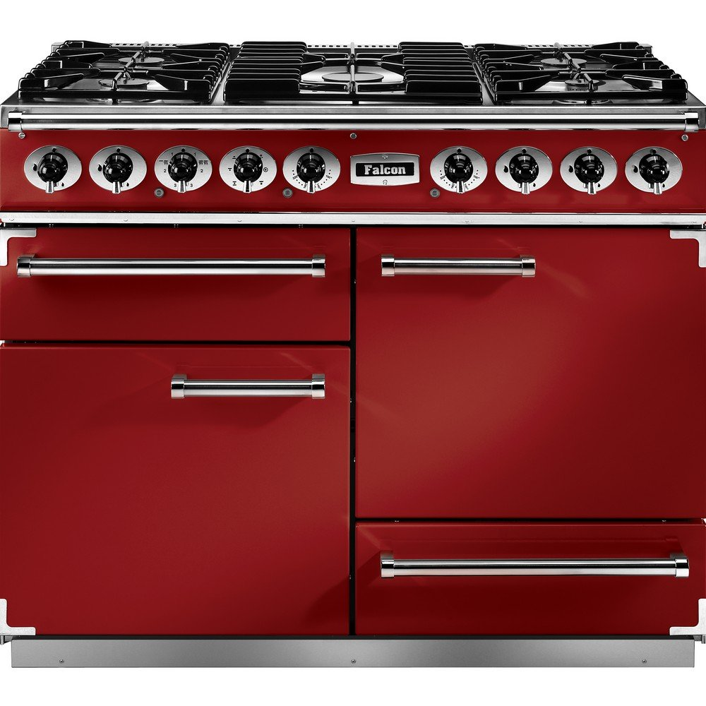 falcon range cookers 1092 deluxe dual fuel range cooker f1092dxdfrd ng cherry red with brushed. Black Bedroom Furniture Sets. Home Design Ideas