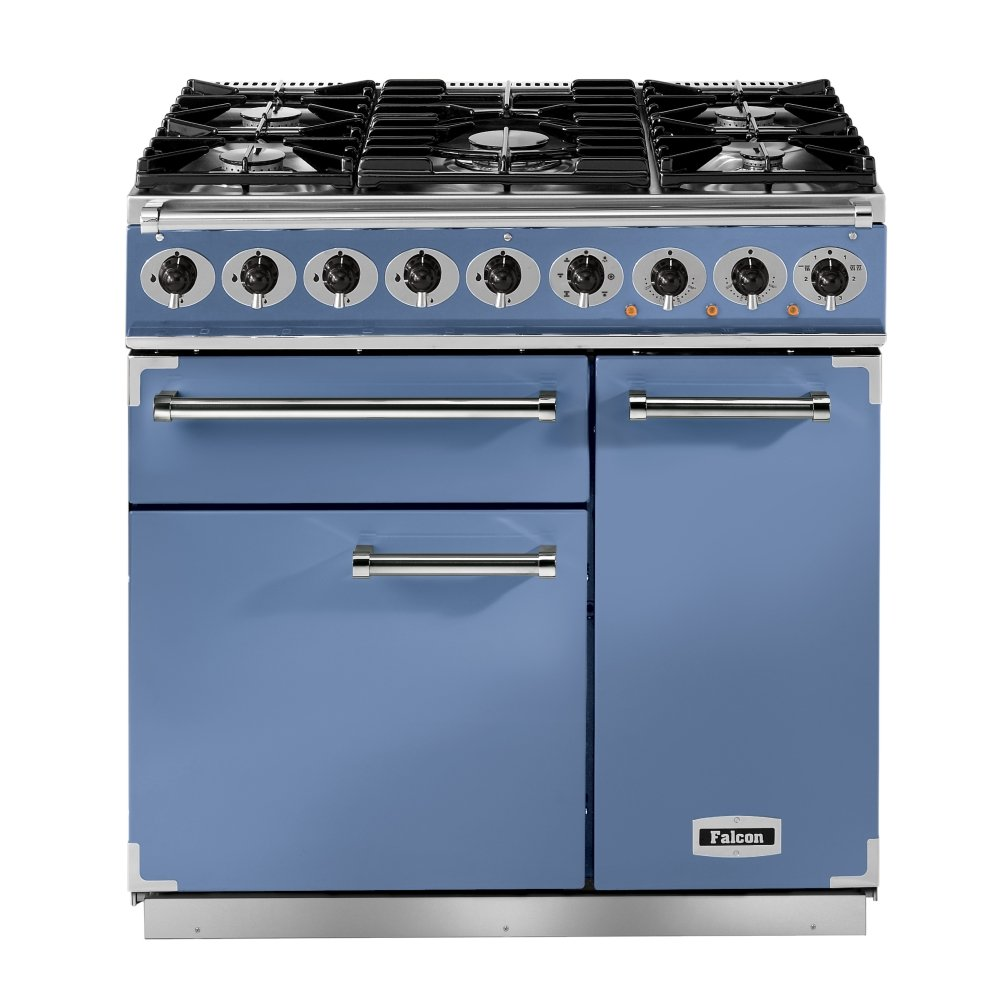 900 deluxe dual fuel range cooker f900dxdfca ng china blue with brushed chrome trim and gloss. Black Bedroom Furniture Sets. Home Design Ideas