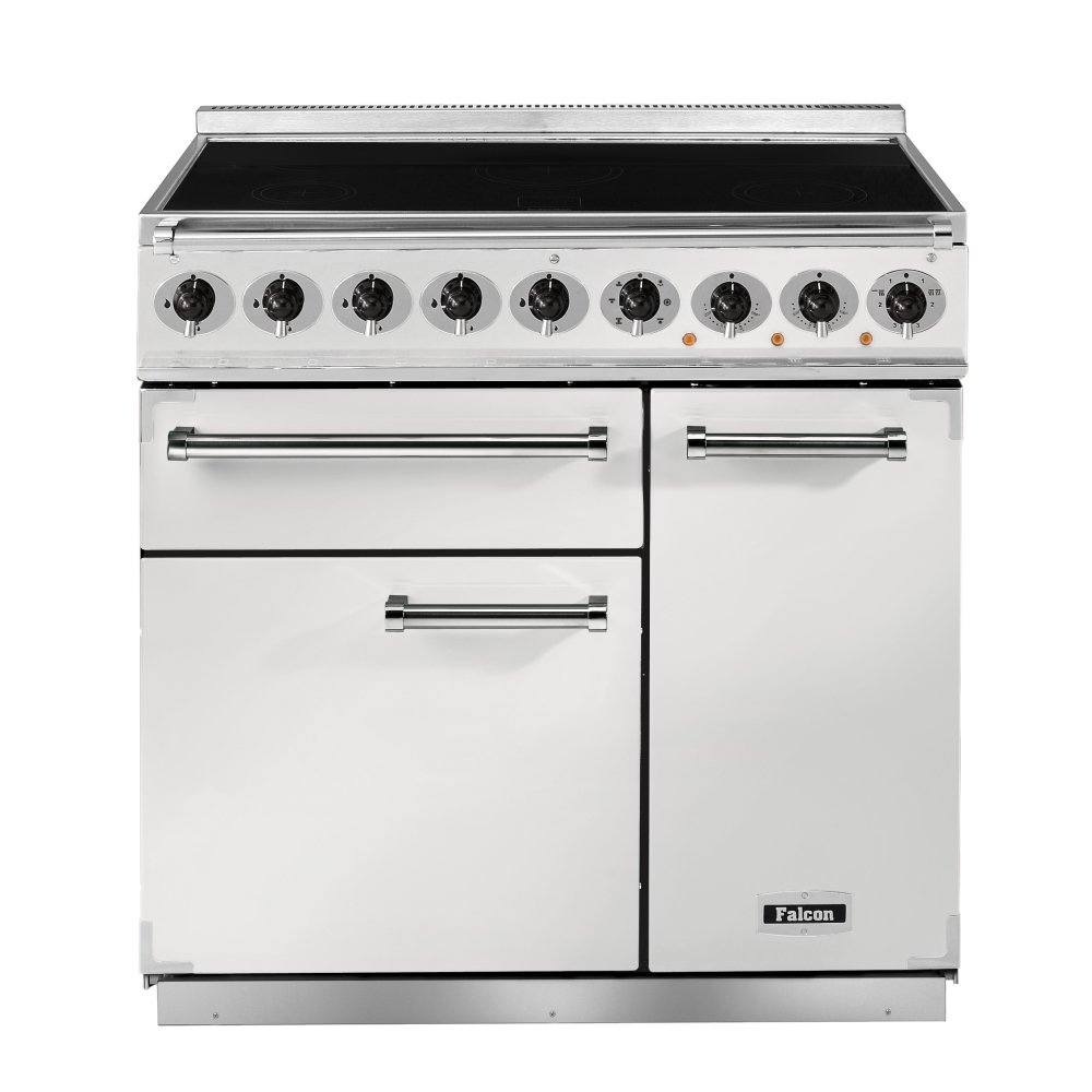 falcon range cookers 900 deluxe induction range cooker f900dxeiwh n eu ice white with brushed. Black Bedroom Furniture Sets. Home Design Ideas