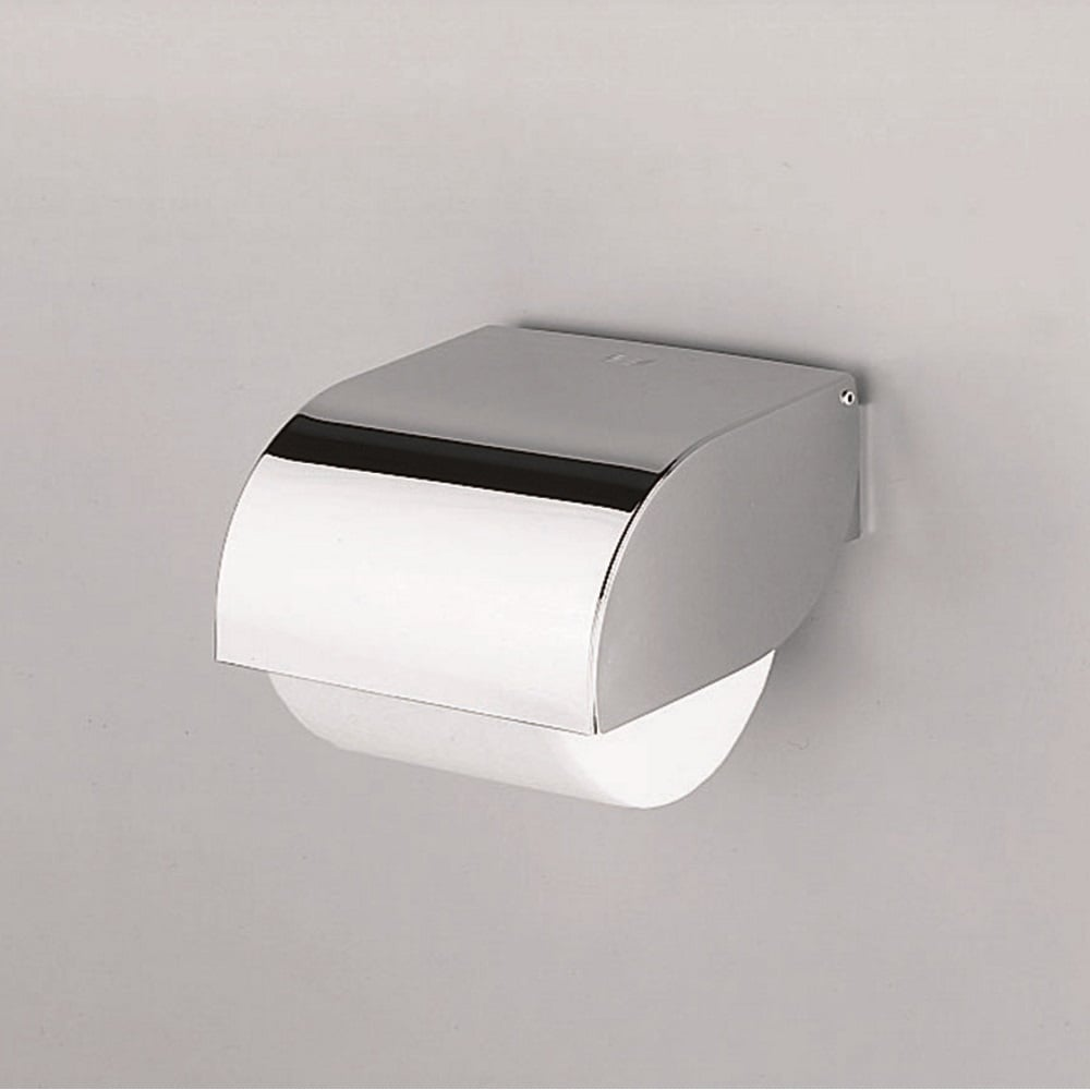 Hotellerie toilet roll holder with cover chrome a3827a for Chrome toilet accessories