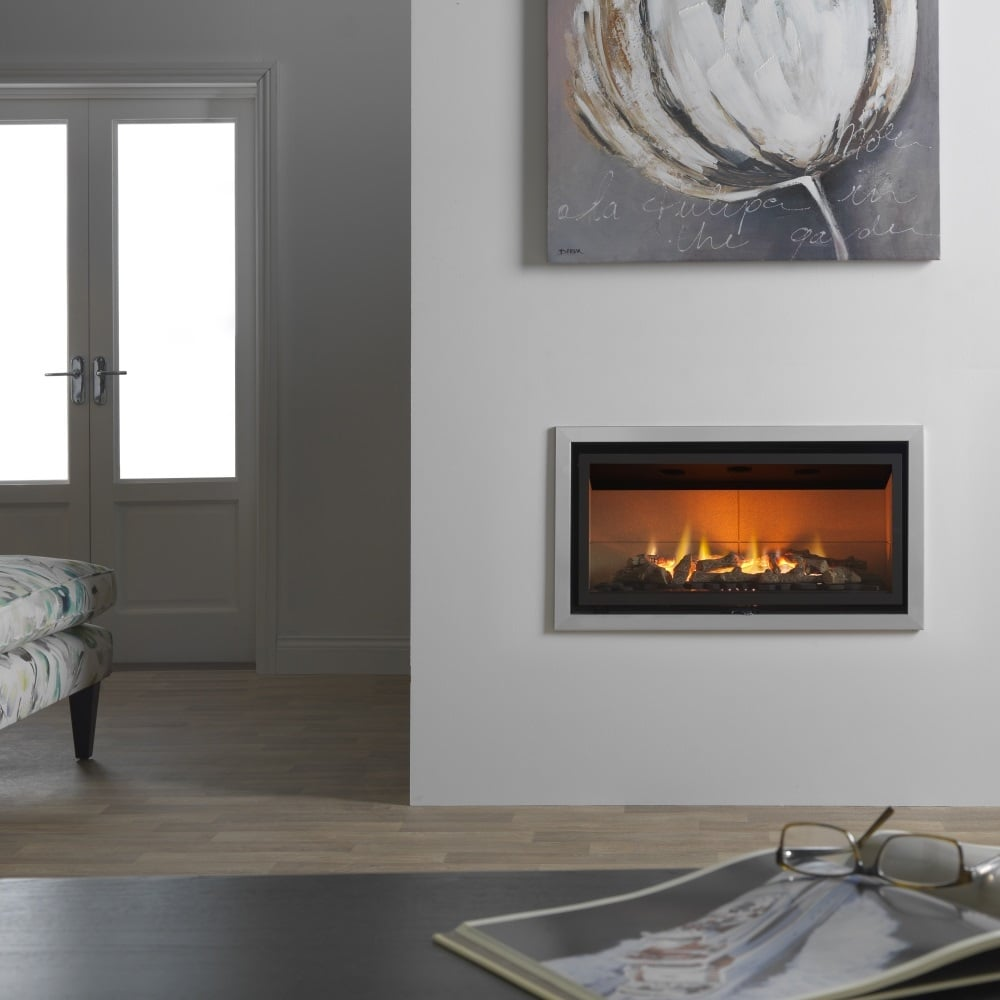 Valor inspire 05800rc 800 contemporary inset wall mounted gas fire with remote - Contemporary wall mount fireplace ...