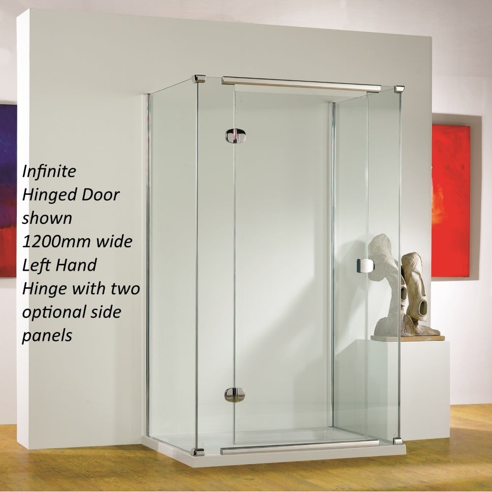 Kudos infinite 4hd120lhs semi frameless 1200mm left hand for 1200 hinged shower door