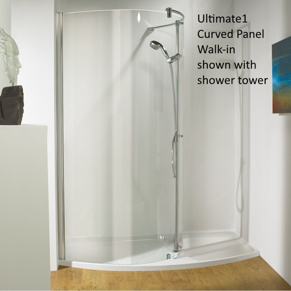 Kudos ultimate 1 3wirrhnv17 pack 1700mm right hand curved for Walk in shower plans and specs