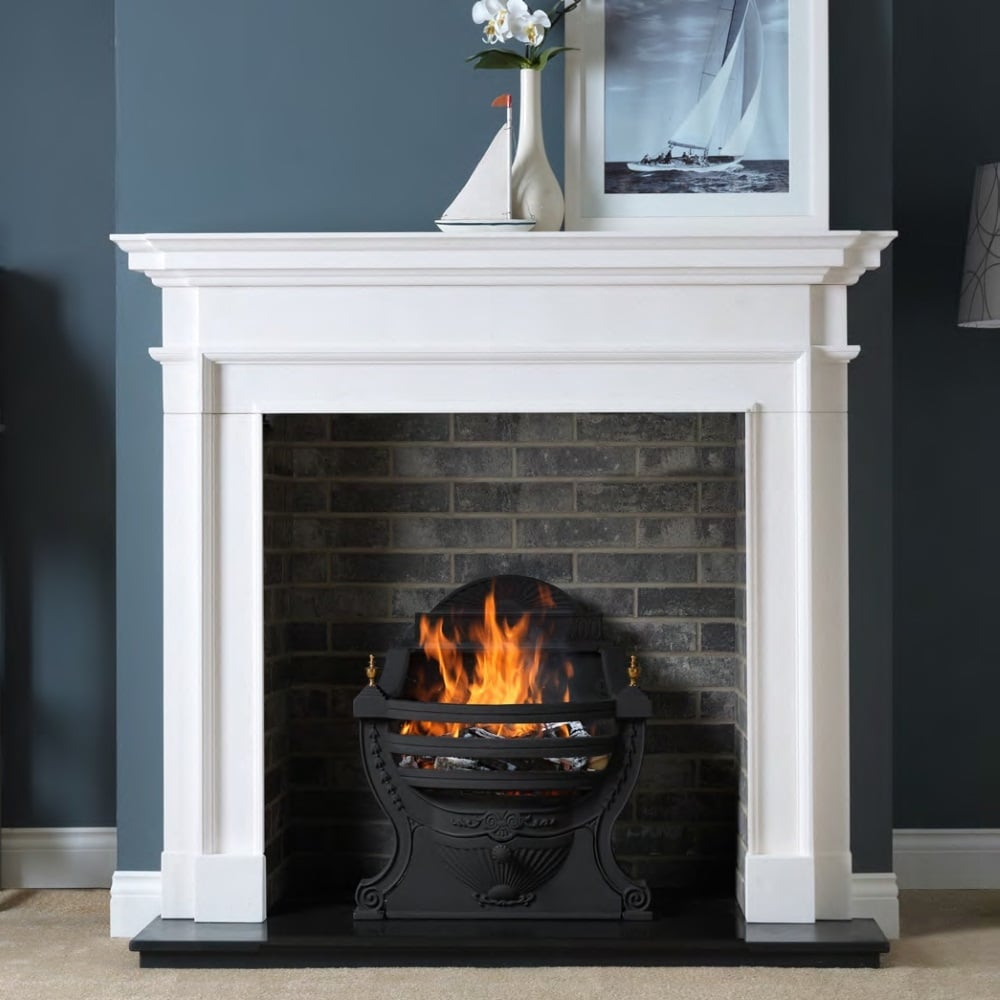 penman aversa 58 inch fireplace surround in agean limestone