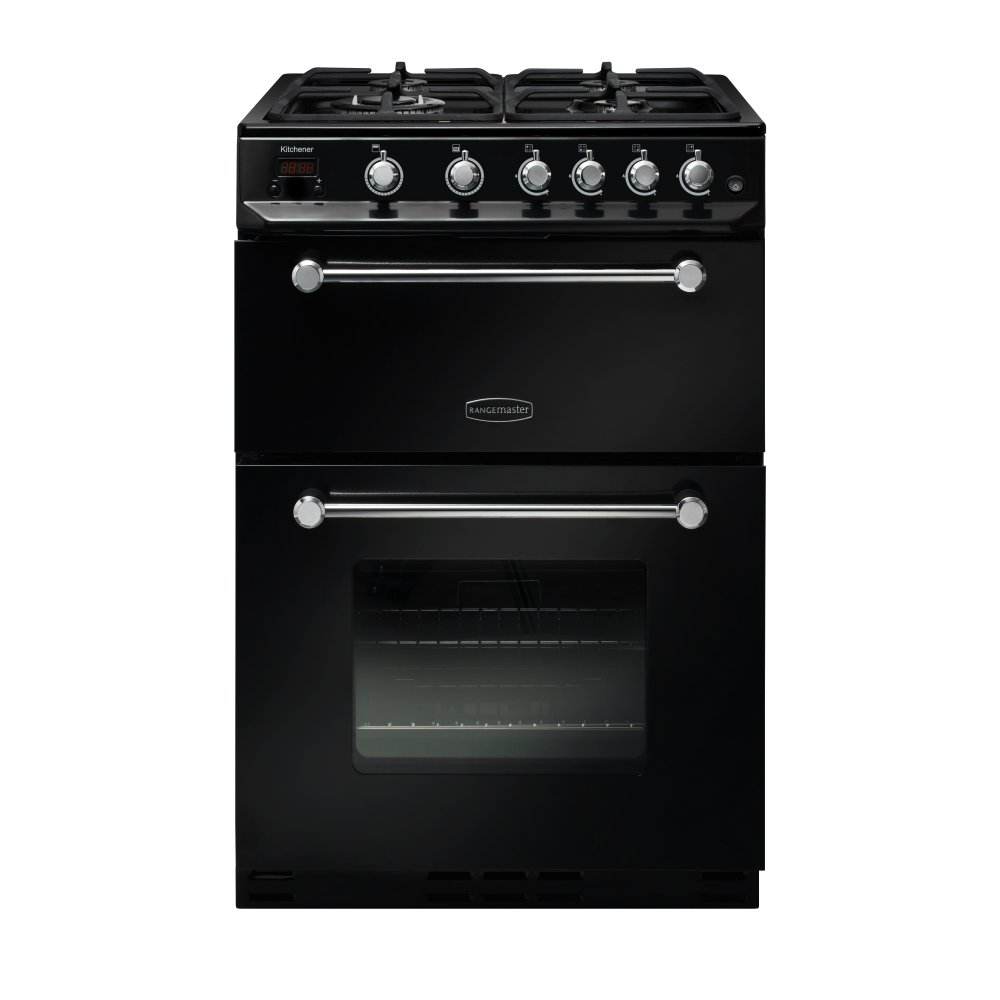 rangemaster kch60ngfbl c kitchener 60 range cooker in black and chrome trim. Black Bedroom Furniture Sets. Home Design Ideas