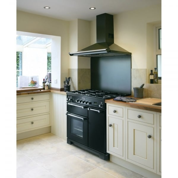 Rangemaster kch90ecbl c kitchener 90 electric ceramic range cooker black and - Falcon kitchener 90 inox ...