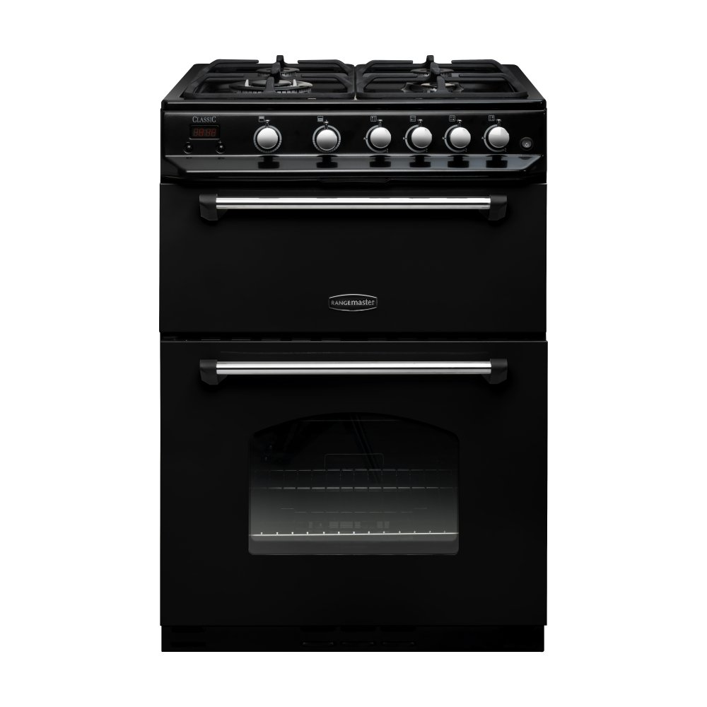 classic 60 range cooker clas60ngfbl c black and chrome trim. Black Bedroom Furniture Sets. Home Design Ideas
