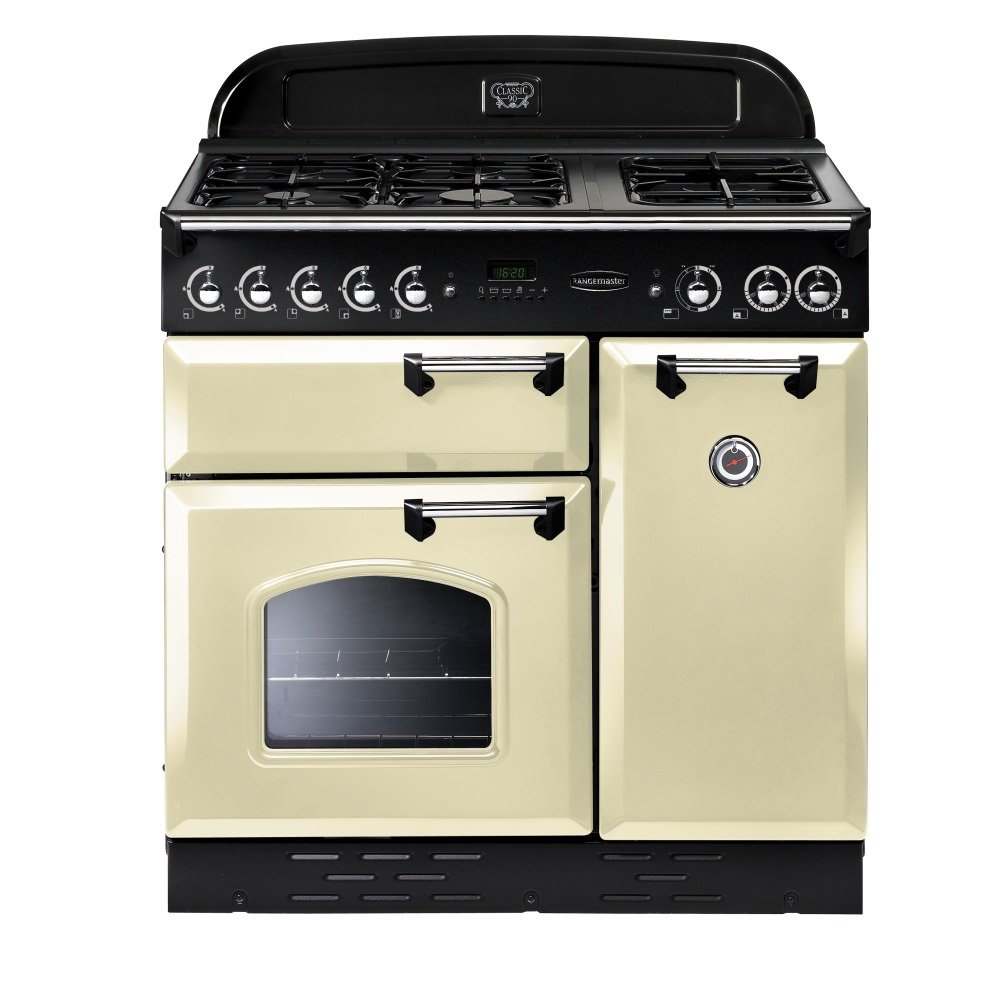 Rangemaster Classic 90 LPG gas range cooker cream and ...