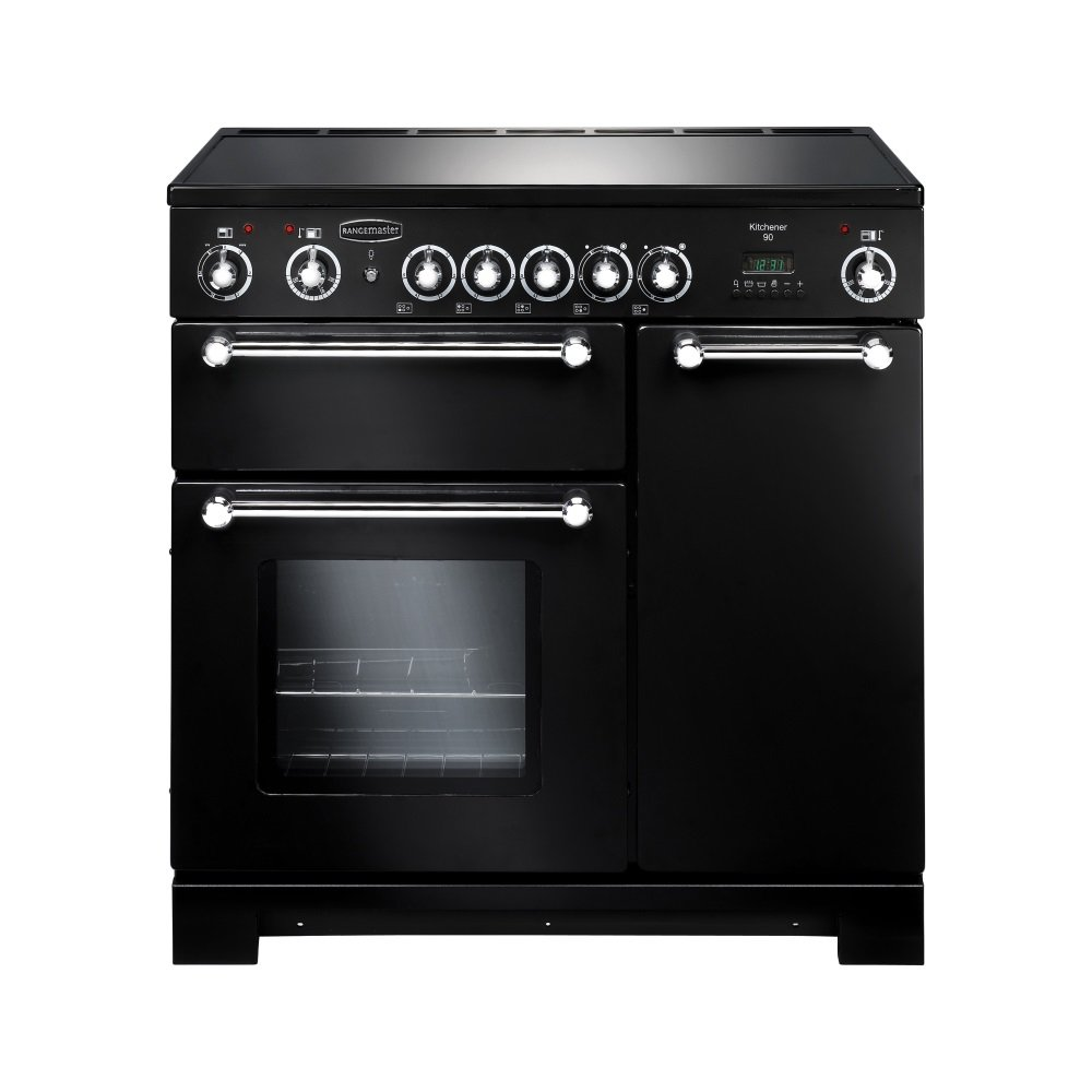 Rangemaster kitchener 90 electric ceramic range cooker black and chrome trim - Falcon kitchener 90 inox ...