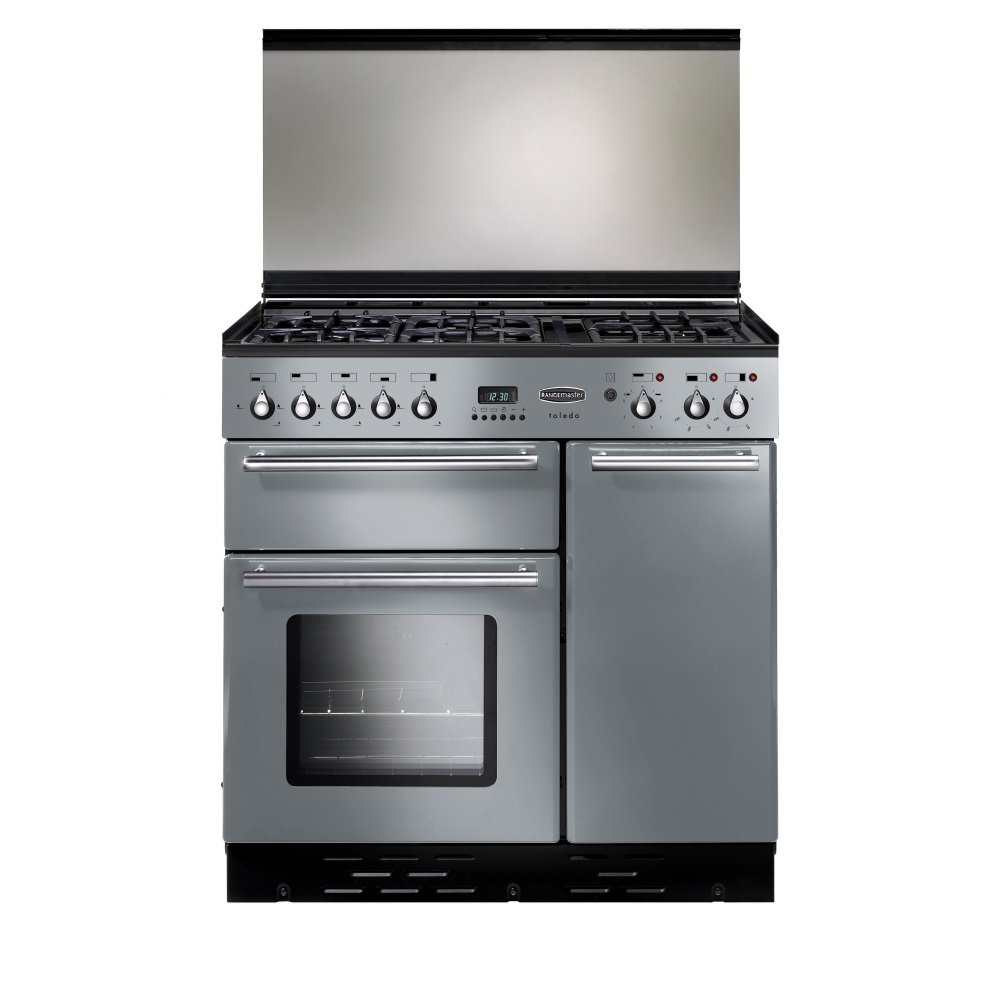 rangemaster toledo 90 dual fuel lidded range cooker silver. Black Bedroom Furniture Sets. Home Design Ideas