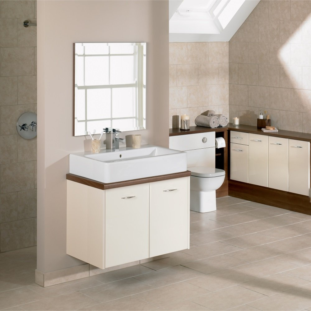 Cool CREAM  MOCHA BATHROOM FITTED FURNITURE 1100MM WITH WALL  EBay