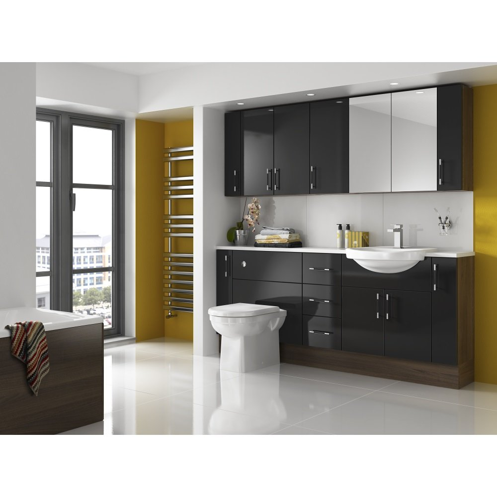 Shades aspen fitted bathroom furniture in black shades for Bathroom furniture