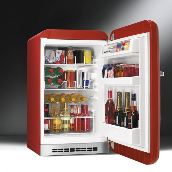 smeg fab 50 39 s retro fab10hrr home bar fridge in red with chrome handle