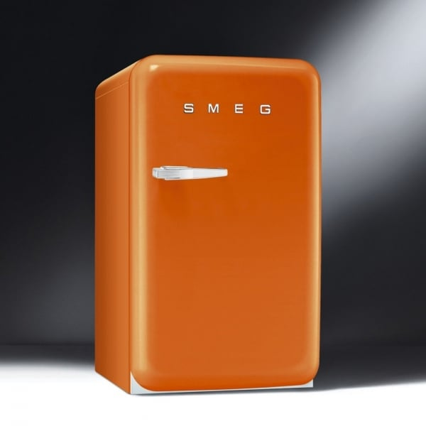 smeg fab 50 39 s retro fab10ro or fab10lo fridge in orange with chrome handle. Black Bedroom Furniture Sets. Home Design Ideas