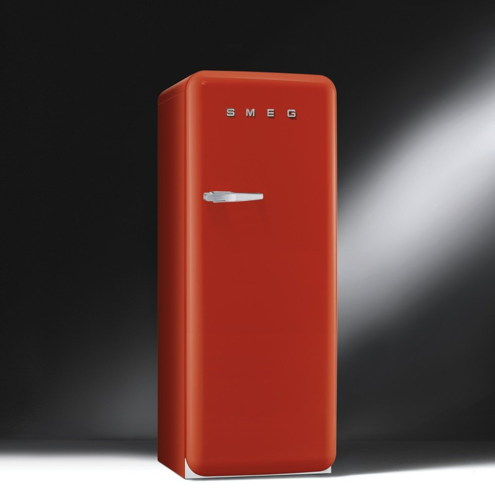 smeg fab 50 39 s retro fab28qr1 or fab28yr1 refrigerator with ice compartment red with chrome handles. Black Bedroom Furniture Sets. Home Design Ideas