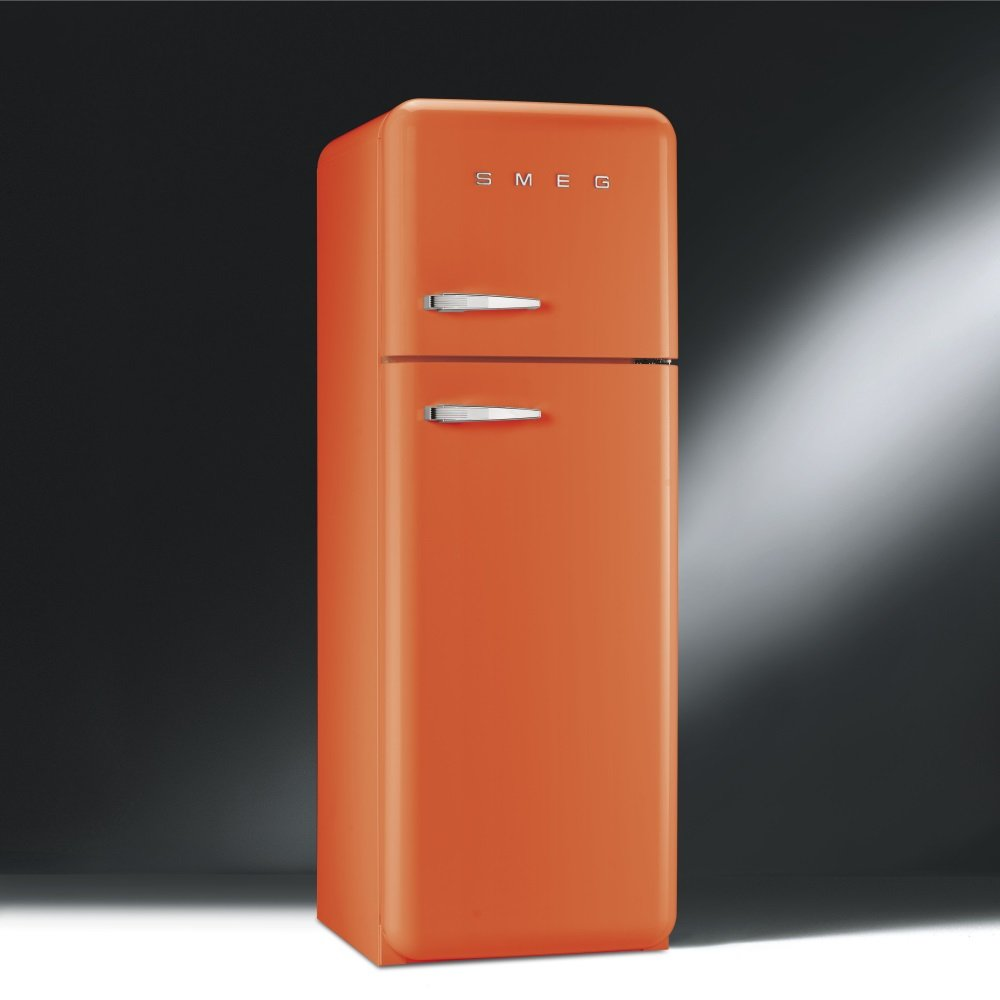 smeg fab 50 39 s retro fab30rfo or fab30lfo fridge freezer orange with chrome handles. Black Bedroom Furniture Sets. Home Design Ideas