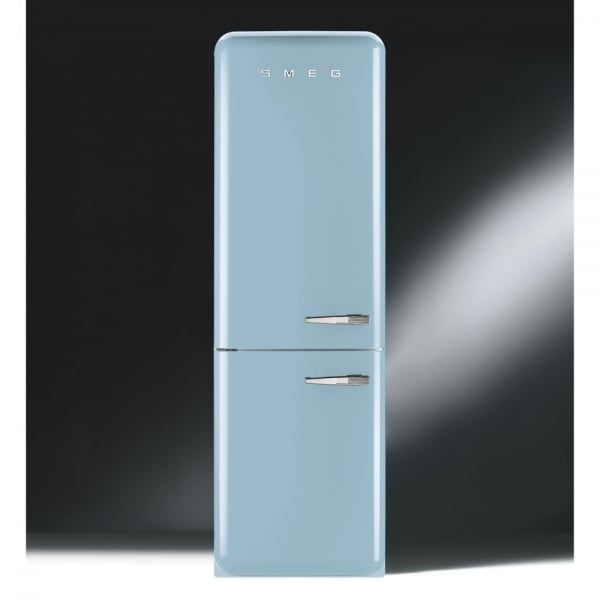 smeg fab 50 39 s retro fab32rfa fanned fridge freezer pastel blue with chrome handles. Black Bedroom Furniture Sets. Home Design Ideas