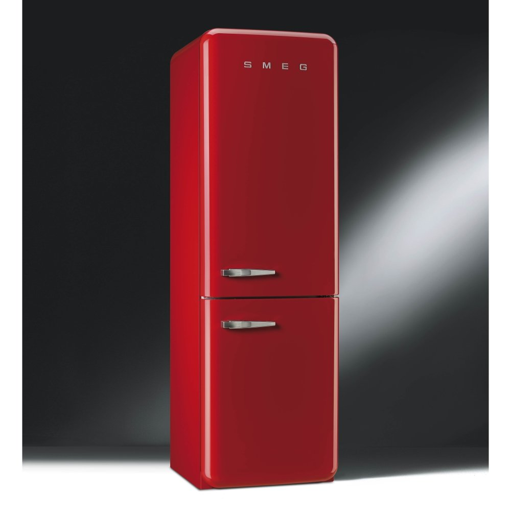 fab 50 39 s retro fab32rfr fanned fridge freezer red with chrome handles. Black Bedroom Furniture Sets. Home Design Ideas