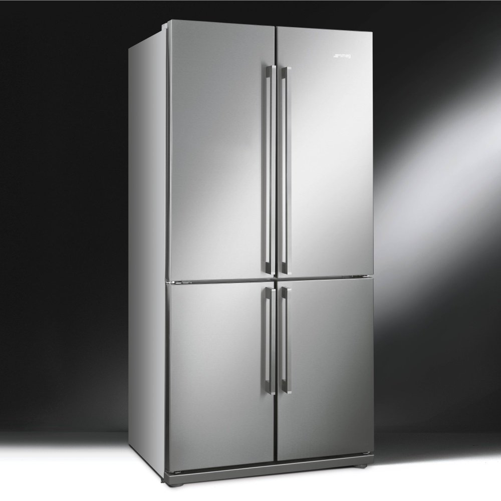 smeg fq60xp 4 door fridge freezer in stainless steel effect finish
