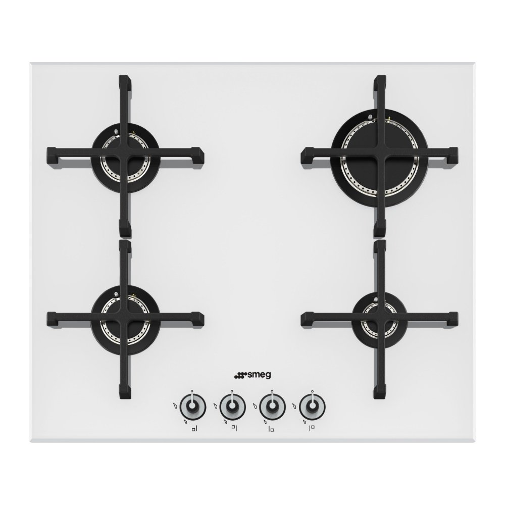 smeg pv164b linea 4 burner gas hob on white glass. Black Bedroom Furniture Sets. Home Design Ideas