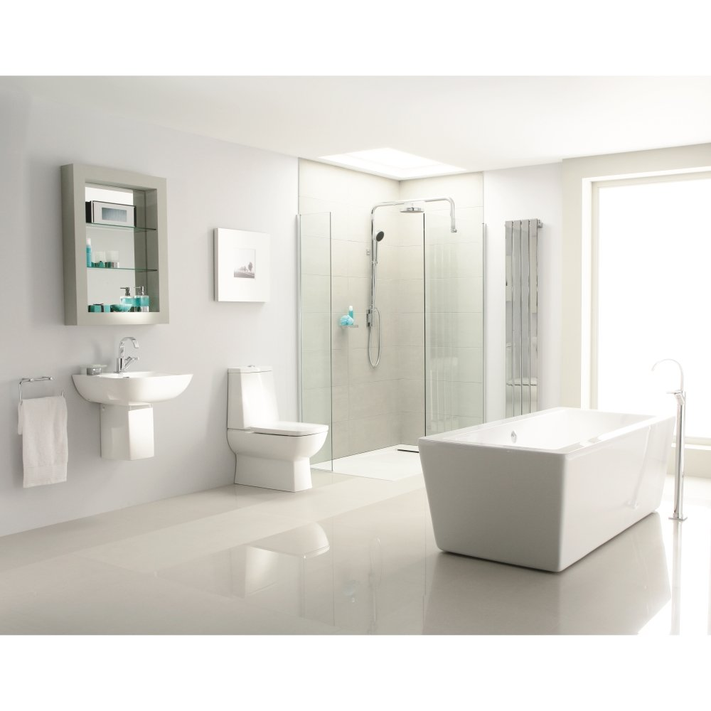Heritage bathrooms sonic square bathroom suite white for Bathroom suites