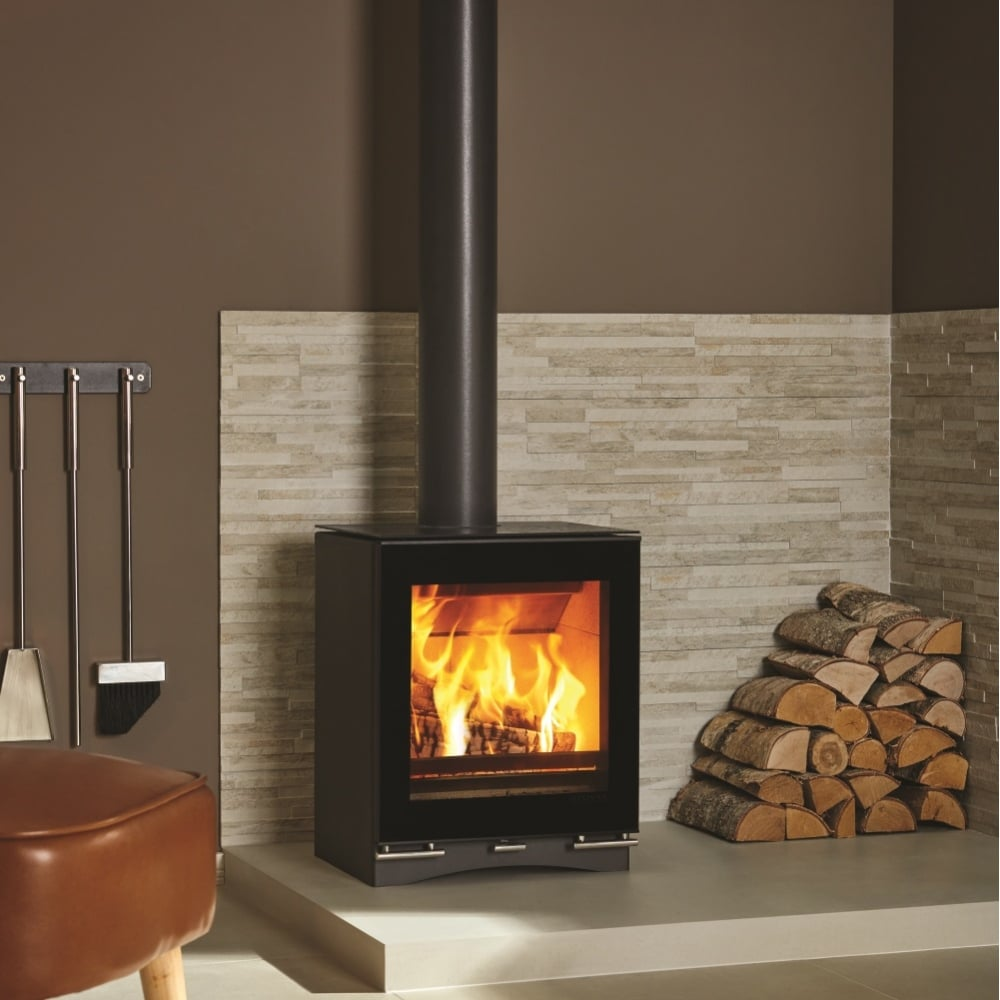 stovax riva vision midi contemporary woodburning stove black. Black Bedroom Furniture Sets. Home Design Ideas