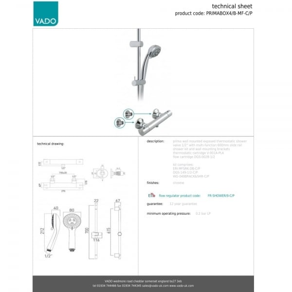 Vado Prima Thermostatic Shower With Slide Rail Kit And