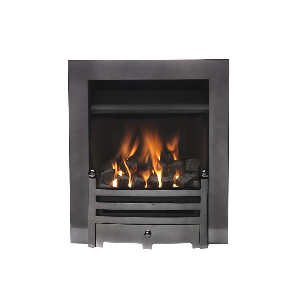 Valor Gas Electric Fires Bauhaus Airflame Convector Manual Gas Fire 0505531 Black Nickel